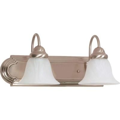 2-Light Brushed Nickel Vanity Light with Alabaster Glass Bell Shade
