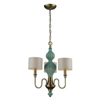 Lilliana 3-Light Seafoam and Aged Silver Ceiling Chandelier
