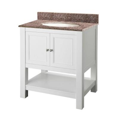 Foremost Gazette 30 in. Vanity in White with Granite Vanity Top in Montero