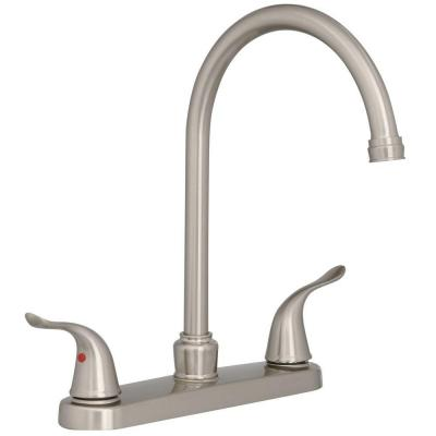 EZ-FLO Impressions Collection 2-Handle Standard Kitchen Faucet with Side Sprayer in Brushed Nickel