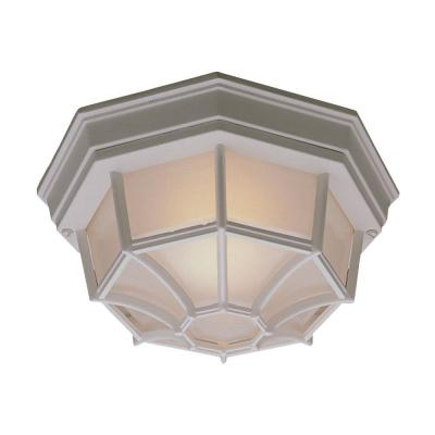 Philips Outdoor Essentials 1-Light Outdoor Flush Mount Matte White Ceiling Fixture