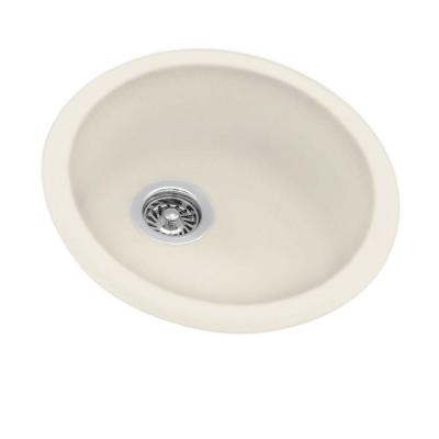 Dual Mount Composite 18.5x18.5x8.5 in. 0-Hole Round Bowl Kitchen Sink in