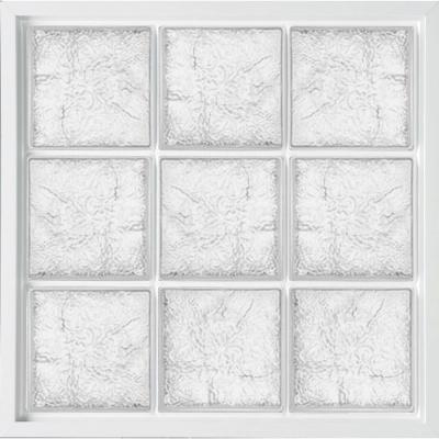 39 in. x 39 in. Glass Block Fixed Vinyl Windows Ice Pattern Glass - White Product Photo