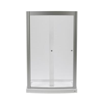Ovation 48 in. x 75.25 in. Framed Sliding Shower Door in Satin Nickel with 48 in. x 30 in. Base in Arctic Product Photo