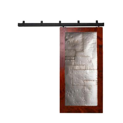 42 in. x 84 in. Steampunk Barn Red Metal Barn Door with Box Rail Sliding Door Hardware Kit Product Photo