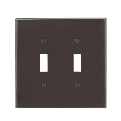2-Gang Midway Toggle Nylon Wall Plate, Brown