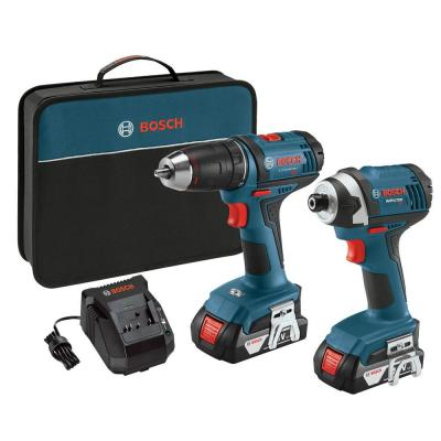 Bosch 18 Volt Lithium-Ion Cordless 1/2 in. Drill/Driver and 1/4 in. Impact Driver Combo Kit with 2-1.5 Ah Batteries (2-Tool)