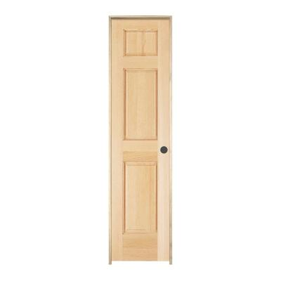 Woodgrain 6-Panel Unfinished Pine Single Prehung Interior Door Product Photo