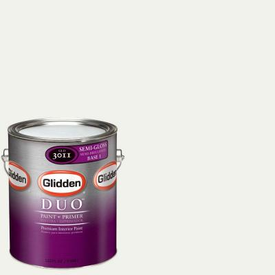 Glidden DUO 1-gal. #GLC26-01S White on White Semi-Gloss Interior Paint with Primer