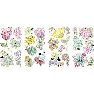 5 in. x 11.5 in. Pastel Floral 24-Piece Peel and Stick