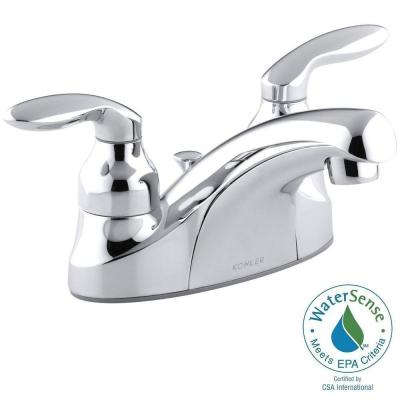KOHLER Coralais 4 in. Centerset 2-Handle Low-Arc Water-Saving Bathroom Faucet in Polished Chrome