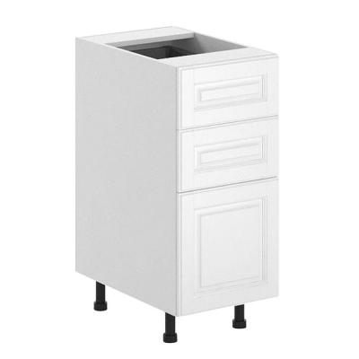 Fabritec 15x34.5x24.5 in. Birmingham 3-Drawer Base Cabinet in White Melamine and Door in White