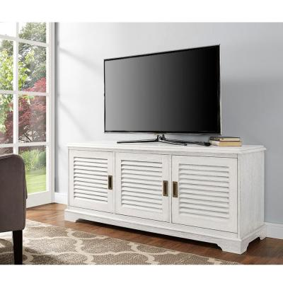 Walker Edison Furniture Company Louvered White Entertainment Center