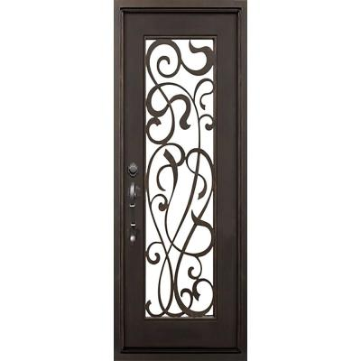 40 in. x 82 in. St Lucie Dark Bronze Left-Hand Inswing Painted Iron Prehung Front Door with Clear Glass and Hardware Product Photo
