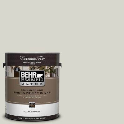 BEHR Premium Plus Ultra 1-Gal. #UL200-9 Silver Moon Flat Exterior Paint