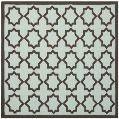 Dhurries Light Blue 8 ft. x 8 ft. Square Area Rug