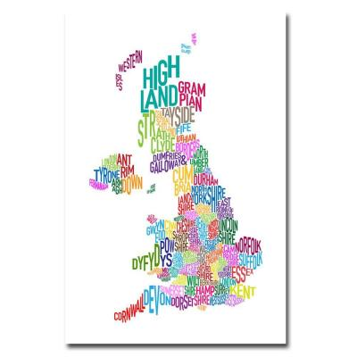 24 in. x 16 in. UK Counties Text Map Canvas Art