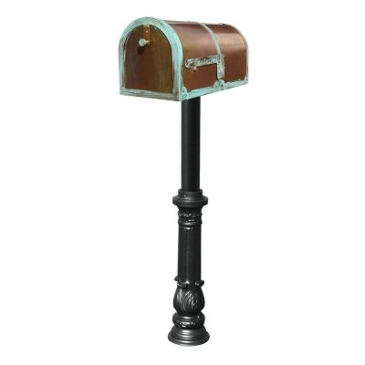 Antique Brass Patina Mailbox Non-Locking with Black Hanford Post System Product Photo