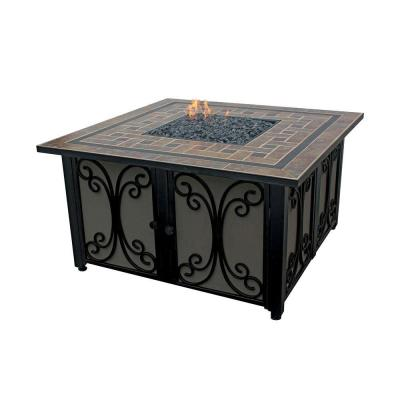 41 in. Steel LP Fire Pit with Slate Tile and Wrought