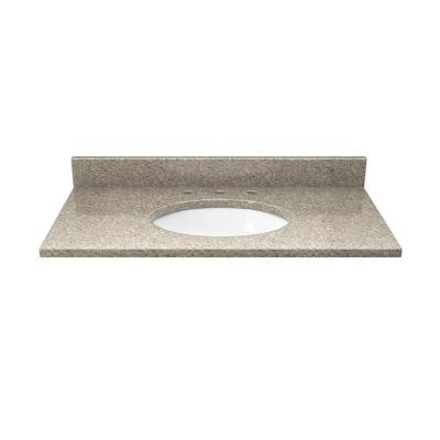 31 in. Quartz Vanity Top in Sand Staccato with White Basin