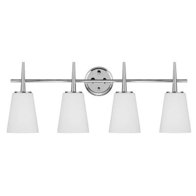 Driscoll 4-Light Chrome Wall/Bath Vanity Light with Inside White Painted Etched
