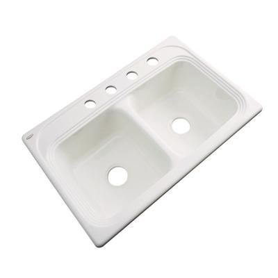 Thermocast Chesapeake Drop-In Acrylic 33 in. 4-Hole Double Bowl Kitchen Sink in Bone