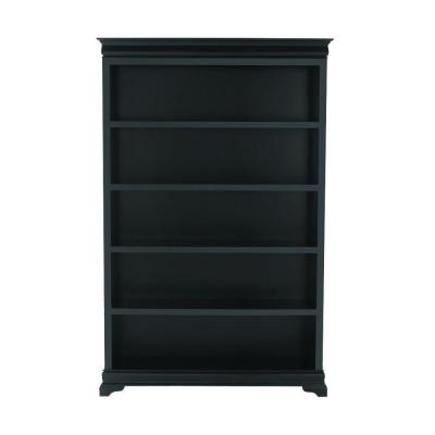 Louis Philippe 47.5 in. W 5-Shelf Open Bookcase in Black Product Photo