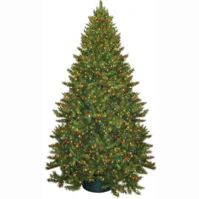 9 ft. Pre-Lit Carolina Fir Artificial Christmas Tree with Multi-Colored Lights