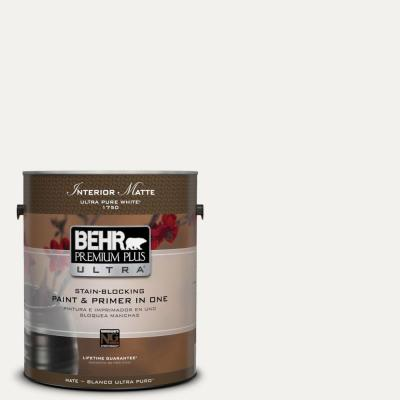 BEHR Premium Plus Ultra Home Decorators Collection 1-gal. #HDC-MD-06 Nano White Flat/Matte Interior Paint