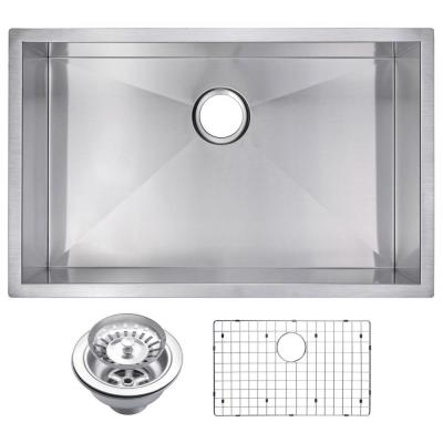 Water Creation Undermount Stainless Steel 30 in. Single Basin Kitchen Sink with Strainer and Grid in Satin