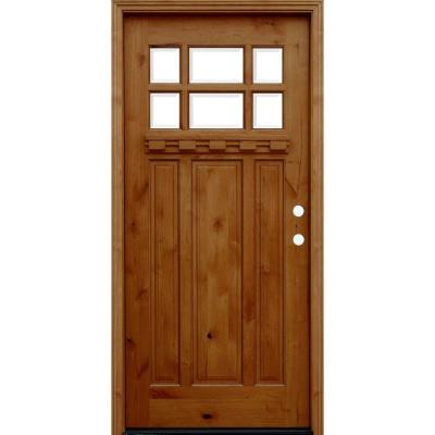 36 in. x 80 in. Craftsman Rustic 6 Lite Stained Knotty Alder Wood Prehung Front Door with Dentil Shelf Product Photo