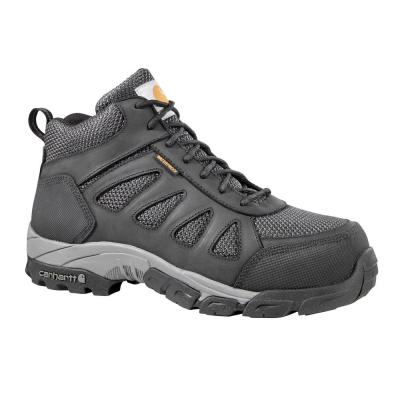 Men's Black Leather and Black Nylon Waterproof Carbon Nano Safety Toe 4-Inch Lightweight Work Hiker