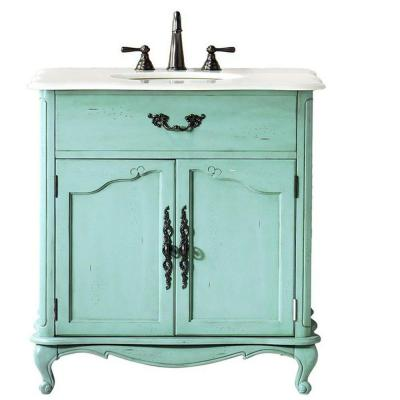 Home Decorators Collection Provence 33 in. W x 22 in. D Single Sink Vanity in Blue with Marble Vanity Top in White