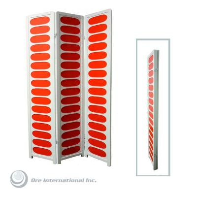 Home Decorators Collection 3-Panel Wood Room Divider in White and Orange