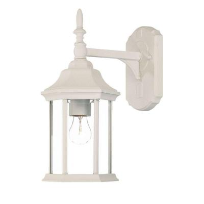 craftsman collection wall mount 1 light outdoor textured white light