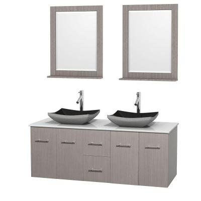 Centra 60 in. Double Vanity in Gray Oak with Solid-Surface Vanity