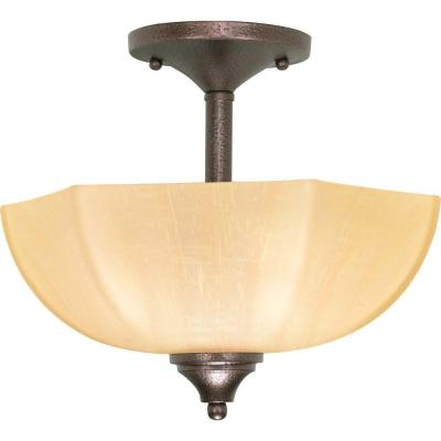 2-Light Copper Bronze Semi-Flush Mount Light with Champagne Linen Washed Glass