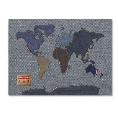 Trademark Fine Art 16 in. x 24 in. Denim World Map Canvas Art