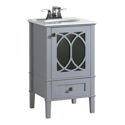 Simpli Home Paige 20 in. W Vanity in Grey with Quartz Marble Vanity Top in White