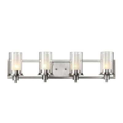 Cabernet Collection 4-Light Brushed Nickel Bath Bar Light with Frosted Inner