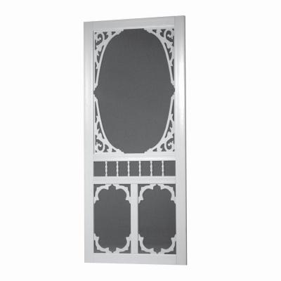 32 in. x 80 in. Charlestowne Solid Vinyl White Screen Door Product Photo