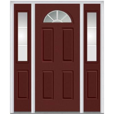 64 in. x 80 in. Classic Clear Glass GBG 1/4 Lite Painted Fiberglass Smooth Prehung Front Door with Sidelites Product Photo