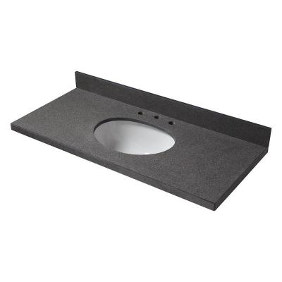 49 in. W Granite Single Basin Vanity Top in Antiqued Black