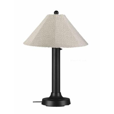 Patio Living Concepts Catalina 34 in. Outdoor Black Table Lamp with Silver Linen Shade