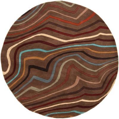 Kallang Chocolate 4 ft. Round Area Rug