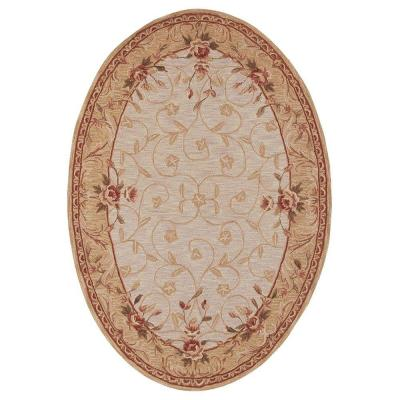 Home Decorators Collection Melody Beige 4 ft. 6 in. x 6 ft. 6 in. Oval Area Rug