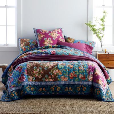Brighton Floral Cotton Patchwork Quilt