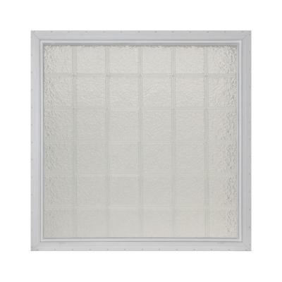 Pittsburgh Corning 48.625 in. x 48.625 in. x 4.75 in. IceScapes Pattern Glass Block Vinyl Window