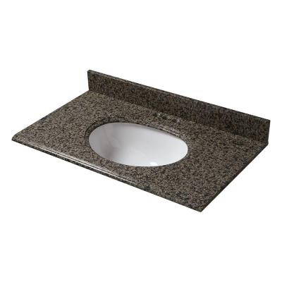 Pegasus 37 in. x 22 in. Granite Vanity Top in Quadro with White Bowl and 4 in. Faucet Spread