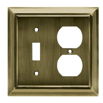 Architectural 1 Toggle and 1 Duplex Wall Plate - Antique Brass